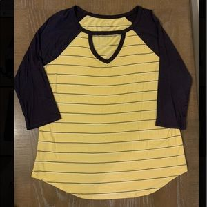 3/4 sleeve yellow and black shirt